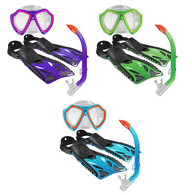 Nipper Junior Or Childs Snorkel, Mask & Fins Set - Blue, Lime Or Violet