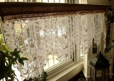 GORGEOUS!ANTIQUE Lace Valance with bow Burlap Curtain SHABBY Rustic Chic WHITE