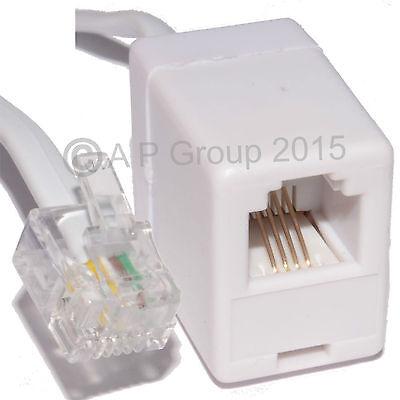 2m RJ11 Extension Cable 4 Pin ADSL BROADBAND Router Modem Phone 6p4c M/F WHITE