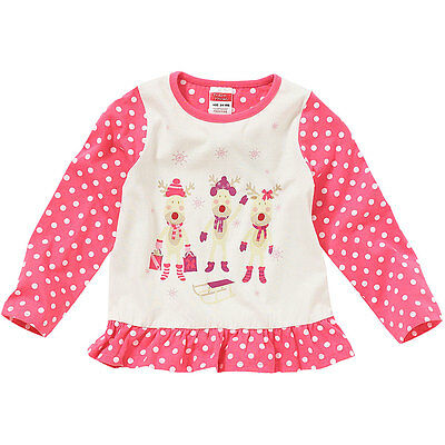 Christmas Reindeer Young Girls Cute Face Novelty Character Long Sleeve Top Pink