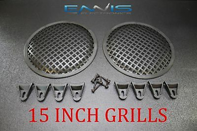 Pair 15 Inch Steel Speaker Sub Subwoofer Grill Mesh Cover W/ Clips Screws