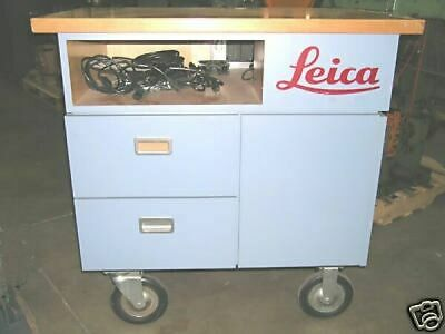 """Leica Microscope Cart Instrument Cabinet Electronic Rack Drawers Wood 37""""x24""""x42"""