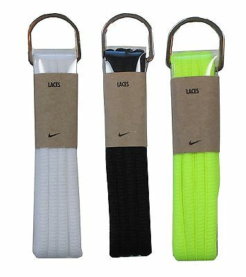 """Nike Oval Shoelaces Black/White/Volt 45"""" 54"""" Basketball Football Running Laces"""