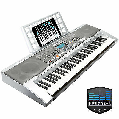 61 Key Electronic Music Electric Keyboard Piano USB - Silver