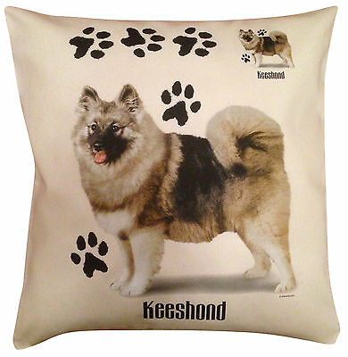 Keeshond Paws Cotton Cushion Cover - Cream or White - Gift Item