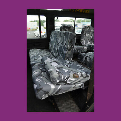 Land Rover Defender 110 County 1983-07 2nd Row Rear Grey DPM Camo Seat Covers