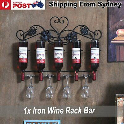 1x Iron Wine Rack Bar Wall Mounted Kitchen Holder 5 Bottles Decoration Home Room