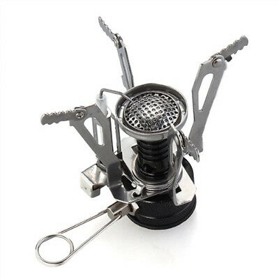 Outdoor Hiking Camping Gas Burner Stainless Steel Stove Mini Portable