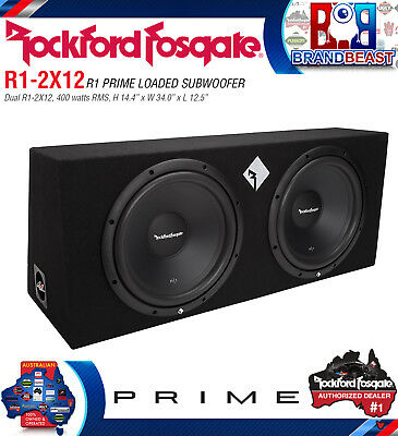 "Rockford Fosgate R1-2x12 Dual 12"" 1600w 2 Ohm Enclused Box Car Bass Sub Woofers"