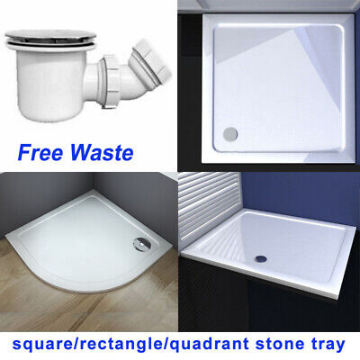 Square rectangle shower stone tray for glass shower enclosure free waste