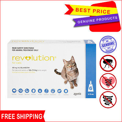 Revolution for Cats 2.6 - 7.5 Kg Blue pack 6 Pipettes + 1 FREE Pipette AU Stock