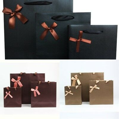 1~10pcs kraft Paper Bags handle Party Wedding Gift Present Paper Shopping Bag