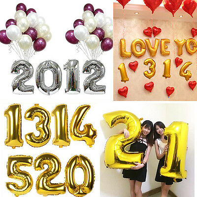 Gold Alphabet Balloons Happy Birthday Party Decoration Aluminum Foil Numbers