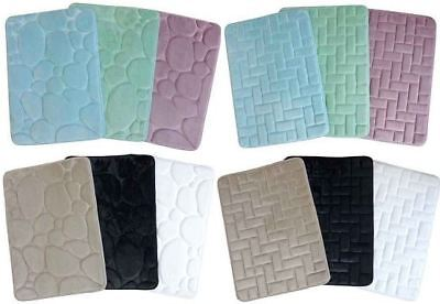 Bath Mat Memory Foam Bathroom Shower Non Slip Soft Washable Rug Absorbent 43x61