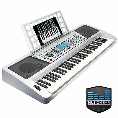 61 Key Touch Sensitive Digital Midi Electronic Music Keyboard Piano - Silver