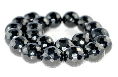"""16MM BLACK JET PYRITE INCLUSIONS GEMSTONE GRD AA BLK ROUND LOOSE BEADS 16/"""""""
