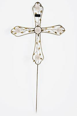 Wrought Ion White Roses Bronze Memorial Cross On Spike