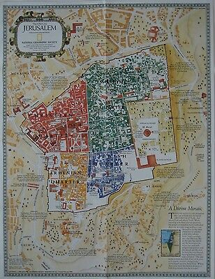 Historical Old City Map JERUSALEM Israel West Bank Palestine Mosques Churches
