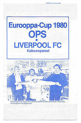 OPS v Liverpool (Winners), 1980/81 - European Cup, 1st Round Match Programme.
