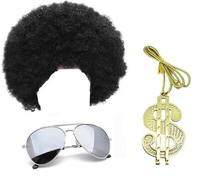 Scouser Wig Dollar Necklace Fancy Dress Novelty Set 1980 80S Accessory