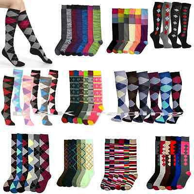 6-12pairs Women Girl Assorted Print Fashion School Knee High Socks Size 9-11 Lot
