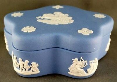 Vintage Blue Jasper Wedgwood Lidded Dresser Box Five Side Lined