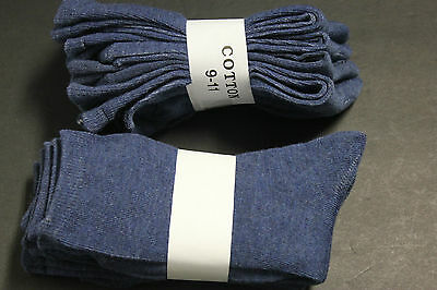 4 PAIR LADIES WOMEN CASUAL DRESS CREW SOCKS 9-11 Solid BLUE ankle