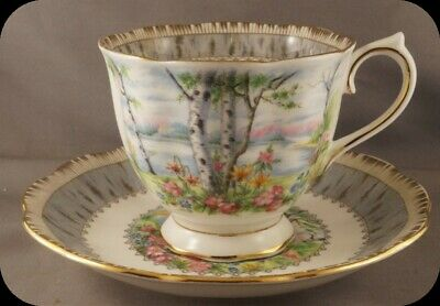 Royal Albert Silver Birch Cup and Saucer England (up to 4 Available)