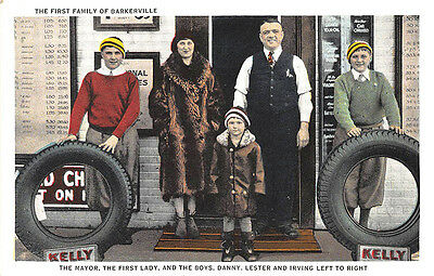 """Lewiston ME Bell Tire Co. """"Barkerville"""" Kelly Tires Bell Family Postcard"""