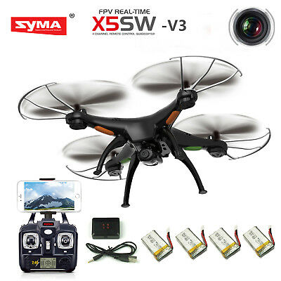 Syma X5SW-V3 Wifi FPV 2.4Ghz 4CH RC Quadcopter Drone Camera 4 batteries+charger