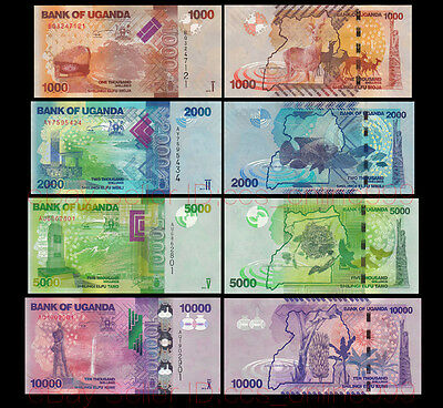 Set of 4Pcs Uganda 1000+2000+5000+10000 Shillings Paper Money,2013,Uncirculated