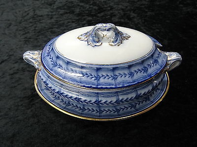 c1920's Booths Silcon China -  Small Tureen Lid & Serving Plate. Vandyke Pattern