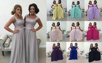 Silver Grey 2 Shoulder Chiffon Lace Bridesmaid Wedding Dress Long Maxi Party