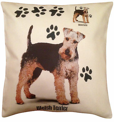 Welsh Terrier Paws Cotton Cushion Cover - Cream or White Cover - Gift Item