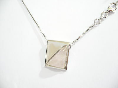 Silver 925 Necklace with Natural Stone - Pink Quartz