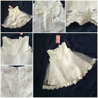 Baby Girls Wedding Ivory/cream Christening Bridesmaid Lace Child Dresses