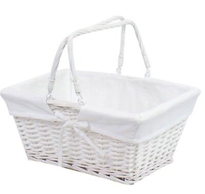 White Lined Wooden Twisted Wicker Basket With Handles Picnic Basket Shopping