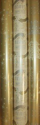 3 x 5M Rolls Of Christmas Gift Wrapping Paper Gold & Cream Tree Snowflake Script