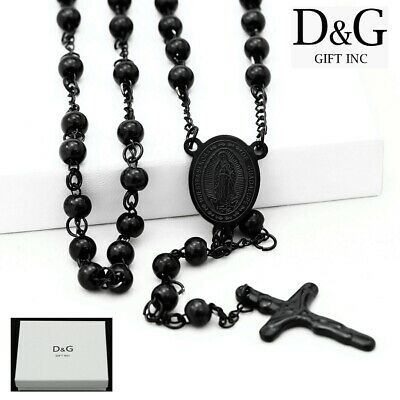 """DG 26"""" Stainless Steel.Beaded Rosary VIRGIN MARY With JESUS CROSS Necklace + BOX"""