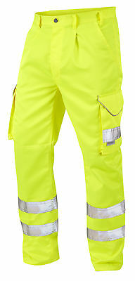 "Yellow High Visibility Superior Polycotton Cargo Trousers Hi Vis Viz 28""- 60"""