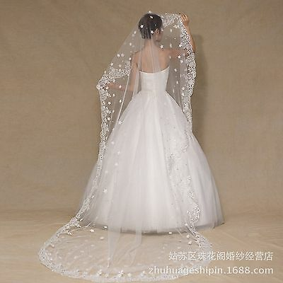 Bridal wedding cathedral  tulle flower lace crystal veil without comb ivory 3m