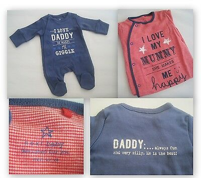 New baby boys sleepsuit 2 styles ex nXt tiny baby mummy daddy 0-3 3-6 6-9 18-24