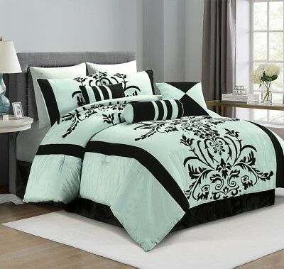 Chezmoi Collection 7-Piece Aqua Blue Black Flocked Floral Comforter Set King