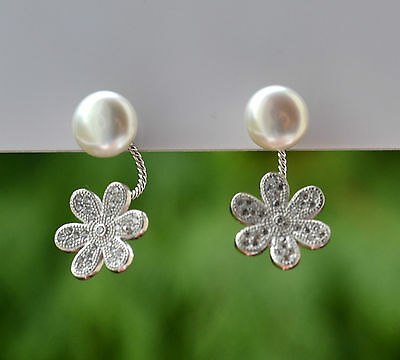Sterling Silver 925 Genuine Freshwater White Pearl with Pave Daisy Drop Earrings
