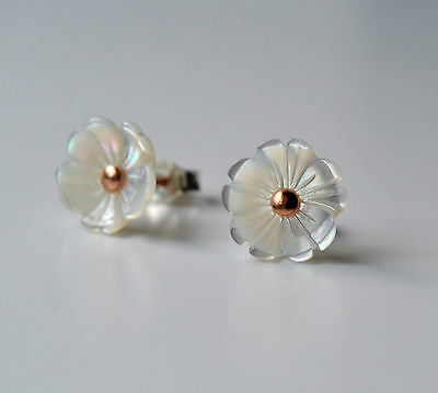 Sterling Silver 925 White Mother of Pearl Plum Flower Stud Earrings