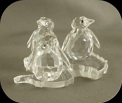 Vintage Swarovski Silver Crystal Set of 3 Baby Penguins in box N 7661 NR003