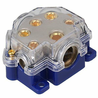 New Blue Auto Car Audio Amplifier 1 in 5 Ways Truck Power Distributor Block