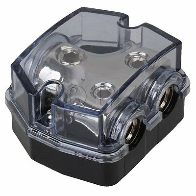 2 Ways Auto Car Audio Power Distributor Block Black Gray Plastic Shell Holder