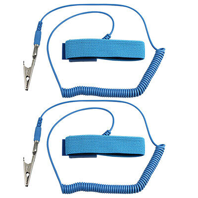 2 X Bule 1.8m Anti-Static ESD Adjustable Wrist Strap Discharge Band Grounding US