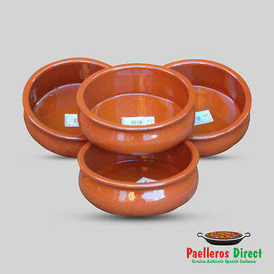 Set of 4 x 15cm Spanish Terracotta Tapas Dishes / Bowls / Cazuelas Abombada